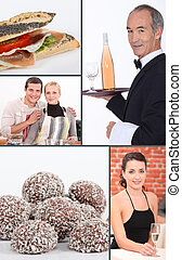 Restaurant themed collage