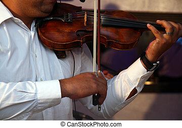 restaurant, toneelstuk, viool