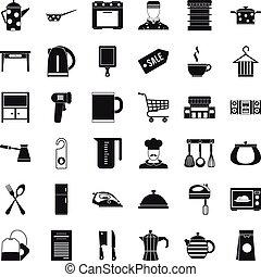 Restaurant utensil icons set, simple style