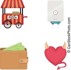 restaurant, væv, sæt, iconerne, collection., cartoon, falskhed, anden, rørarbejde, ikon, horn, style., bank, kneb