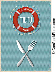restaurant-variation, retro, fruits mer, 2, menu, conception