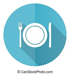 Restaurant vector icon, flat design blue round web button isolated on white background
