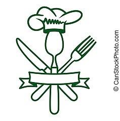 restaurant, vector, iconen
