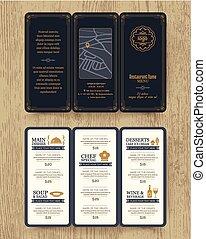 restaurant, vendange, brochure, conception, gabarit, menu