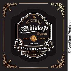 restaurant, vendange, cadre, illustration, étiquette, whisky, bière, vecteur, étiquette, label., design., suitable, vin