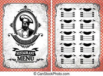 restaurant, vendange, chef cuistot, vecteur, gabarit, menu, lunettes
