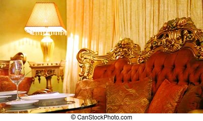 restaurant, verre vin, figure, ombre lampe, table, est, vin