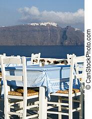 restaurant view of santorini