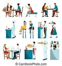 Cafe restaurant daytime visitors flat icons set with waiters serving dishes and drinks abstract isolated vector illustration