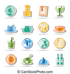 restaurant, voedingsmiddelen, drank, iconen
