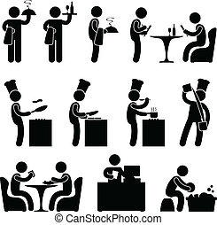 A set of human figure and pictogram showing scenarios of a restaurant.
