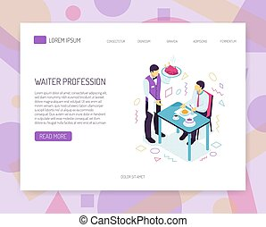 Restaurant Waiter Isometric Web Banner