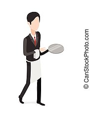 Restaurant. Waiter Walking with an Empty Tray