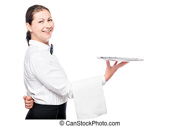 restaurant waitress posing in studio with a tray