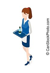 Restaurant. Walking Waitress with Tray in Hands -...