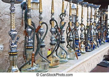 restaurant, waterpipes, haut, shisha, revêtu, arabe