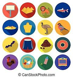 restaurant, web, ecologie, iconen, natuur, collection., plat, set, style.entertainment, pictogram, toerisme, anderen, ontspanning