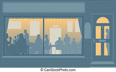 Restaurant window - Editable vector illustration of people...