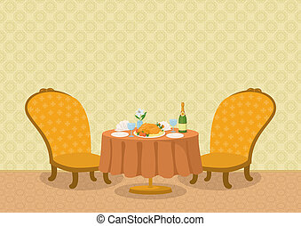 Restaurant with dishes on table