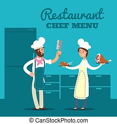 Restaurant with kitchen silhouette and cartoon chef and cooks