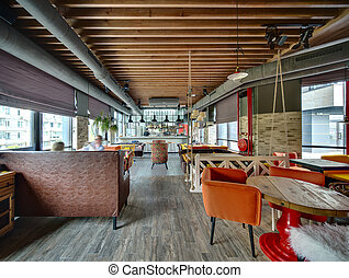 Restaurant with open kitchen - Hall in a loft style in a...