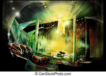 restaurant with Pianist lounge illustration