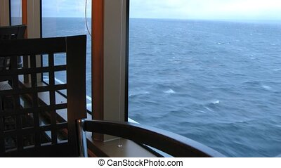 Restaurant with view on ocean on cruise liner, time lapse