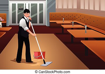 Restaurant Worker Cleaning Restaurant After Closing - A...