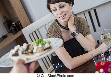Restaurant Young Woman Dinner