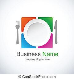 restaurante, ícone, logotipo