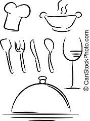 restaurante, ícone