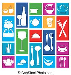 restaurante, ícones