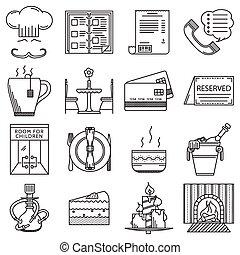 restaurante, ícones, cobrança, vetorial, pretas, linha