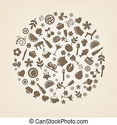 restaurante, ícones, em, forma, de, esfera
