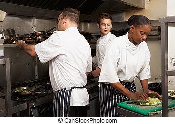restaurante, alimento, chefs, preparando, equipo, cocina