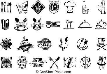 restaurante, alimento, conjunto, cubiertos, iconos