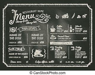restaurante, alimento, menú, diseño, con, pizarra, plano de...