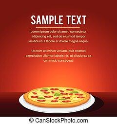 restaurante, alimento, menu, rapidamente, desenho, cartão, pizza