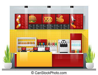 restaurante, alimento, modernos, cena, rapidamente, interior