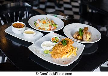 restaurante, alimentos, Conjunto, tabla, variedad
