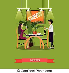 restaurante, apartamento, estilo, mulher, ilustração, jantar, vetorial, tendo