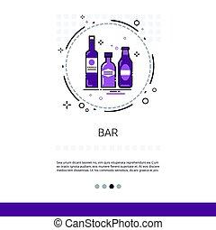 restaurante, barra, alcohol, bebida, servicio, bandera, con, espacio de copia