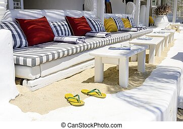 restaurante, barra playa, mykonos
