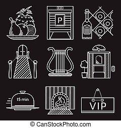 restaurante, branca, vetorial, linha, ícones