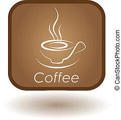 restaurante, café, botón, sitio web, anuncio, café