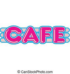 restaurante, café, diner, 1950s, sinal