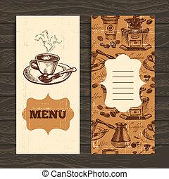 restaurante, café, menu, mão, experiência., café, vindima, desenhado, coffeehouse, barzinhos