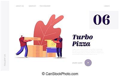 restaurante, caricatura, ilustración, customers., entregar, ...