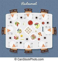 restaurante, cima mesa, vista