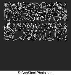 restaurante, clase, tiendas, alimento, patrón, cocina, menú...